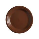 Placa cerâmica marrom vazia no fundo branco Fotos de Stock