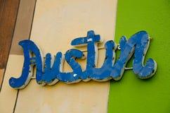 Placa colorida con la palabra Austin Fotografía de archivo