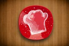 Placa colorida con símbolo blanco dibujado mano del cocinero Imagen de archivo
