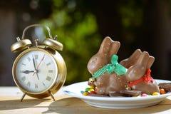 Placa com coelhinhos da Páscoa e os doces coloridos imagens de stock royalty free