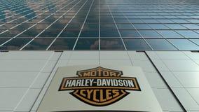 Placa com Harley-Davidson, Inc do Signage logo Fachada moderna do prédio de escritórios Rendição 3D editorial Imagens de Stock Royalty Free