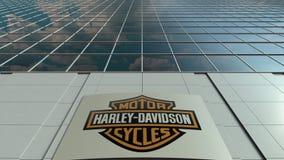 Placa com Harley-Davidson, Inc do Signage logo Lapso de tempo moderno da fachada do prédio de escritórios Rendição 3D editorial video estoque