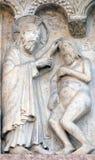 Placa com histórias da gênese: Criação de Adam foto de stock