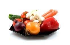 Placa com legumes frescos fotografia de stock