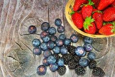 Placa com morangos e uvas-do-monte Fotografia de Stock Royalty Free