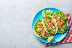 Placa com os tacos de peixes saborosos Imagens de Stock Royalty Free
