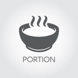 Placa com parcela de alimento quente Sopa, sopa de peixe, caldo e o outro conceito dos pratos Ícone liso para o café da manhã, o  Foto de Stock