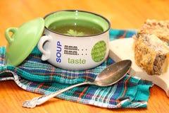 Placa com sopa Foto de Stock