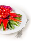 Placa com vegetais cortados Fotografia de Stock Royalty Free