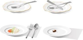 Placa con el enchufe, el cuchillo, la cuchara, el arroz y la cucaracha foto de archivo libre de regalías
