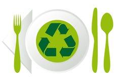 Placa con el reciclaje de símbolo Fotografía de archivo