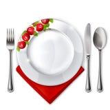 Placa con la cuchara, el cuchillo y la fork Fotografía de archivo