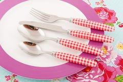 Placa con la cuchillería Imagen de archivo libre de regalías