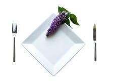Placa con la flor púrpura Imágenes de archivo libres de regalías