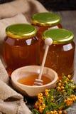 Placa con la miel y las bayas frescas Fotografía de archivo libre de regalías