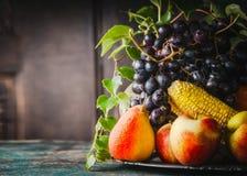 Placa con las diversas frutas y verduras de cosecha: manzana, maíz, pera y uvas en la tabla de cocina rústica Fotos de archivo