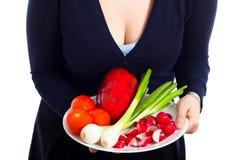 Placa con las verduras frescas Imagen de archivo libre de regalías