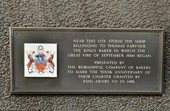 Placa con los detalles del fuego de Londres en 1666, Londres 2017 Fotografía de archivo libre de regalías