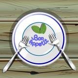 Placa con los forkes en la tabla de madera stock de ilustración