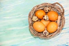 Placa con los huevos de codornices y los huevos del pollo Huevos de codornices en un cuenco de madera Lugar para el texto dieta d Fotografía de archivo libre de regalías