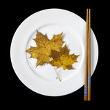 Placa con los palillos y las hojas de arce Foto de archivo libre de regalías