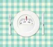 Placa con una escala del balance del peso. Concepto de la dieta. Foto de archivo