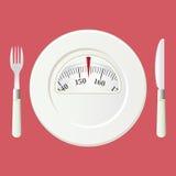 Placa con una escala del balance del peso. Concepto de la dieta Fotografía de archivo