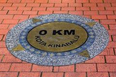 Placa conmemorativa con los kilómetros cero Fotografía de archivo