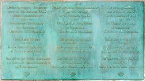 Placa conmemorativa en la entrada al embarcadero histórico en Swakopmund Imagen de archivo libre de regalías