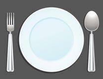 Placa, cuchara y fork Imagen de archivo libre de regalías