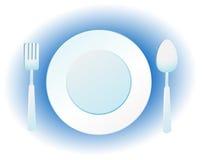 Placa, cuchillo y fork Fotos de archivo