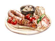 Placa da carne com salsicha Ilustração Stock