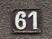 Placa 61 da casa Imagens de Stock Royalty Free