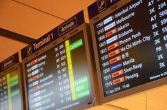 Placa da chegada no aeroporto de Changi imagens de stock