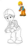 A placa da coloração - trabalhador da construção - ilustração para as crianças ilustração royalty free