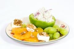 Placa da fruta com salada de batata Fotos de Stock Royalty Free