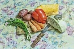 Placa da imagem de Hdr que cozinha o ingrediente mais vegetal da madeira Foto de Stock
