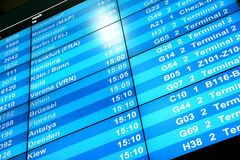 Placa da informação do voo foto de stock royalty free