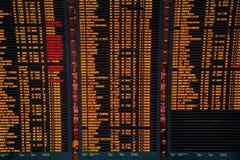 Placa da informação do voo do aeroporto Imagem de Stock