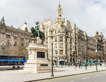 Placa da Liberdade in Porto, Portugal, with King Pedro IV`s eque Royalty Free Stock Photography
