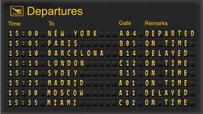 Placa da partida - aeroportos do destino. Imagens de Stock Royalty Free