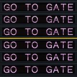 A placa da partida do aeroporto com vai bloquear o sinal fotos de stock royalty free