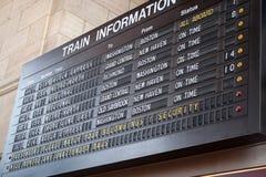 Placa da programação do estação de caminhos-de-ferro Foto de Stock Royalty Free