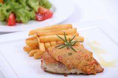 Placa da refeição de jantar fina Fotos de Stock Royalty Free