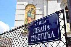 Placa da rua em Novi Sad foto de stock