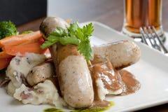 Placa da salsicha do estilo do restaurante Foto de Stock Royalty Free