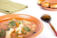 Placa da sopa vegetal, de uma colher de madeira e de bolos em um CCB da luz Fotos de Stock