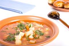 Placa da sopa vegetal, de uma colher de madeira e de bolos em um CCB da luz Fotos de Stock Royalty Free