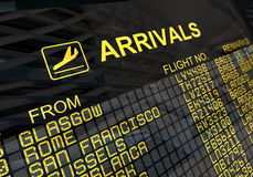 Placa das chegadas do aeroporto internacional Fotos de Stock