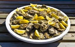 Placa das ostras cruas decoradas com partes de limão Foto de Stock